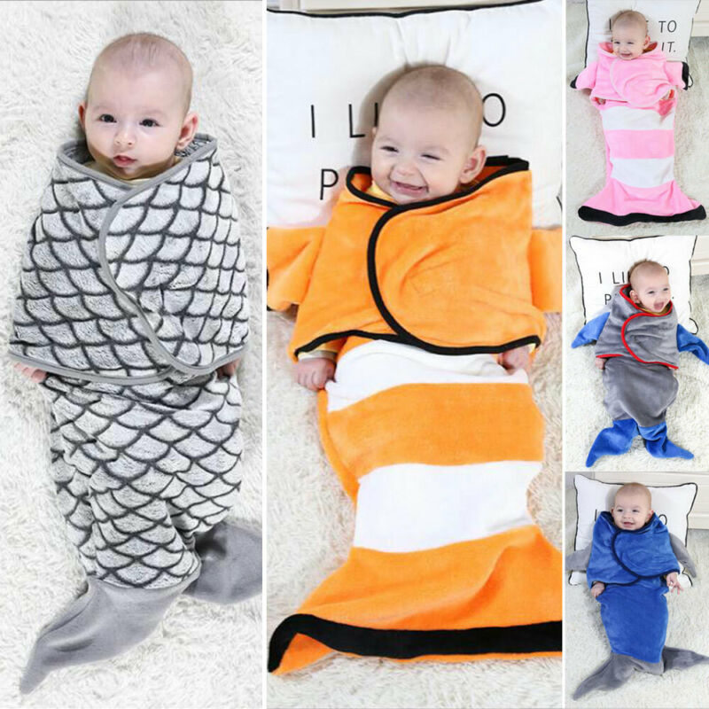 NewBorn Unisex Cosy Secure Baby Swaddle Blanket Wrap Sleeping Bag For Pram Crib