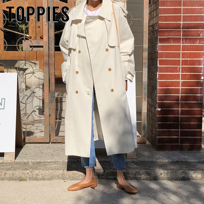White Khaki Windbreaker Woman Double Breasted Long Trench Coat Fall 2019 Korean Women Clothes