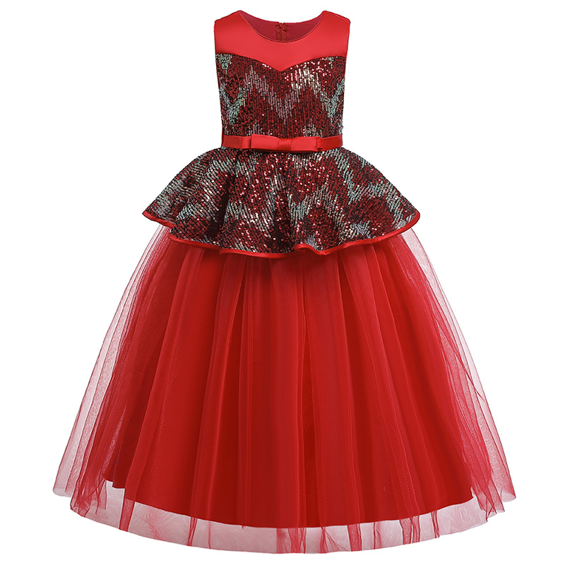 2019 Girl Wedding Dress Pageant Ball Gown Kids Dresses For Girls Clothing Party Dress Sequin Princess Dress 4-14 Year Vestidos