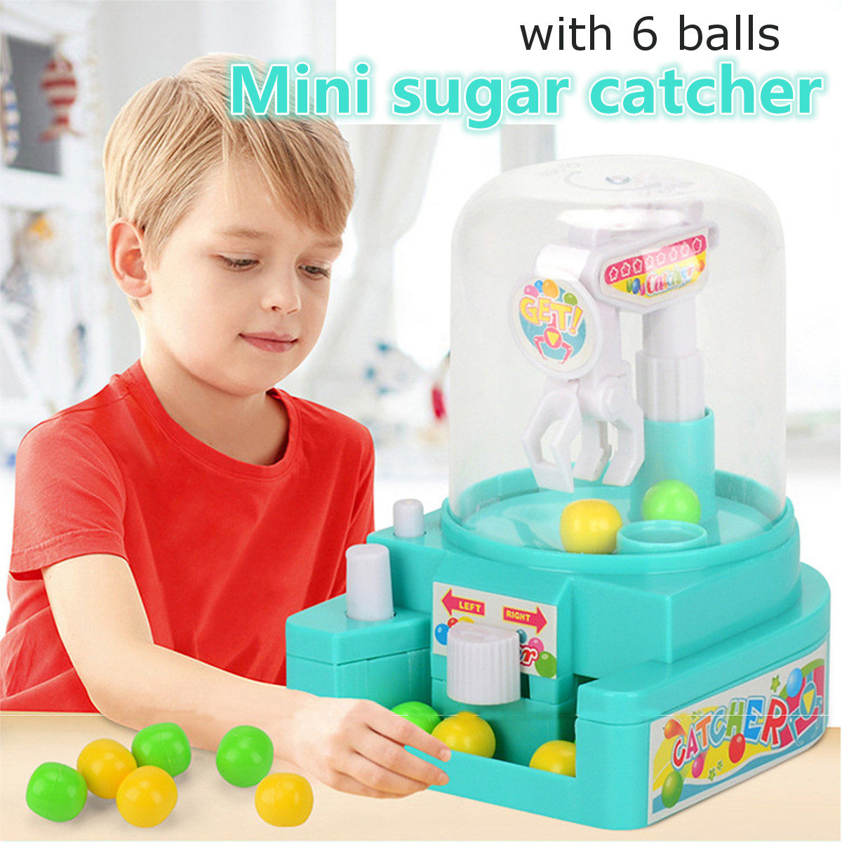 Mini Candy Grabber Catcher Mechanical Arm Small Ball Crane Machine Handheld Claw Arcade Crane Catch Toy For Kids Children