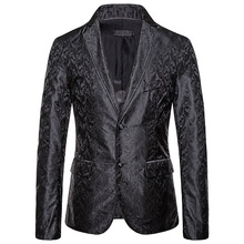Mens Formal Wear Casual Wedding Suit British Style Printed Banquet Dress Large Size Blazer