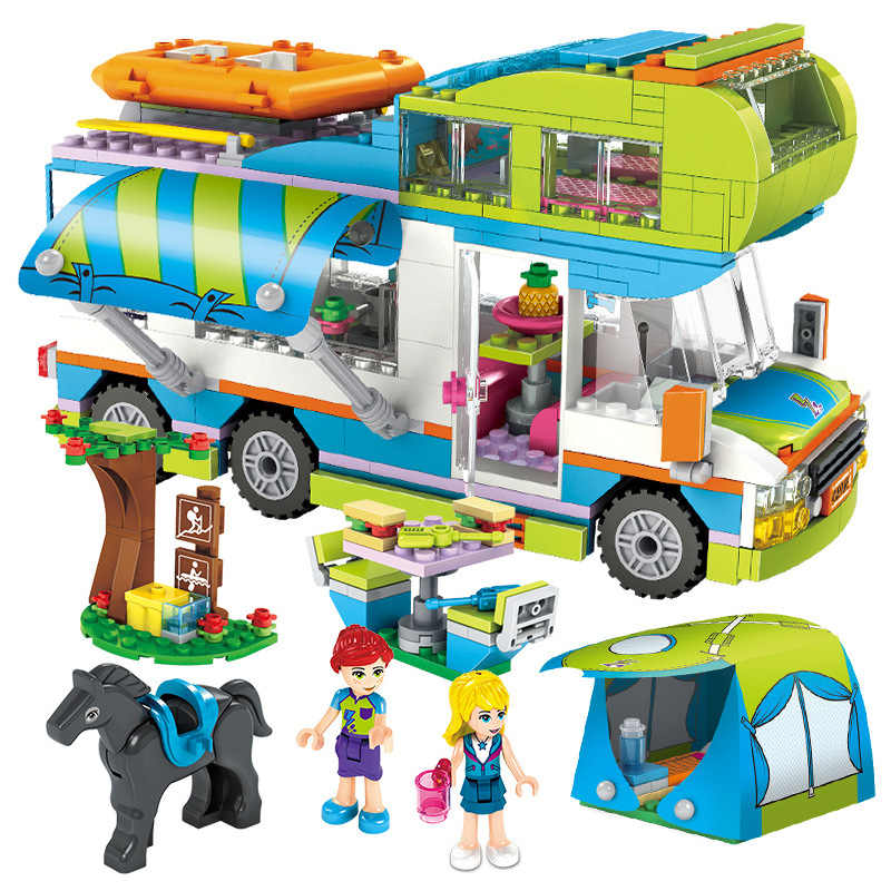 Compatibile Legoinglys Amici Serie Cuore Lake City Girls Club Street Building Blocchi di Colore Rosa Torta Cafe Blu Camper Carino 4 Tipi