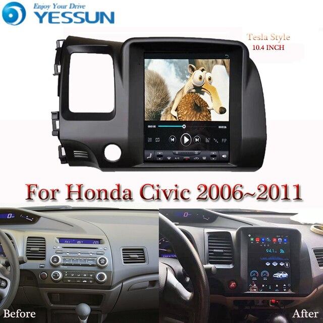 테슬라 화면 혼다 시빅 2006 2007 2008 2011 자동차 안드로이드 멀티미디어 플레이어 10.4 인치 자동차 라디오 스테레오 오디오 GPS 네비게이션