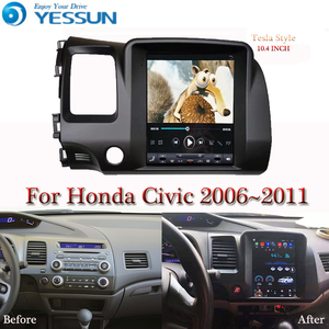 Image 1 - Tesla bildschirm Für Honda Civic 2006 2007 2008 2011 Auto Android Multimedia Player 10,4 inch Auto Radio stereo Audio GPS Navigation