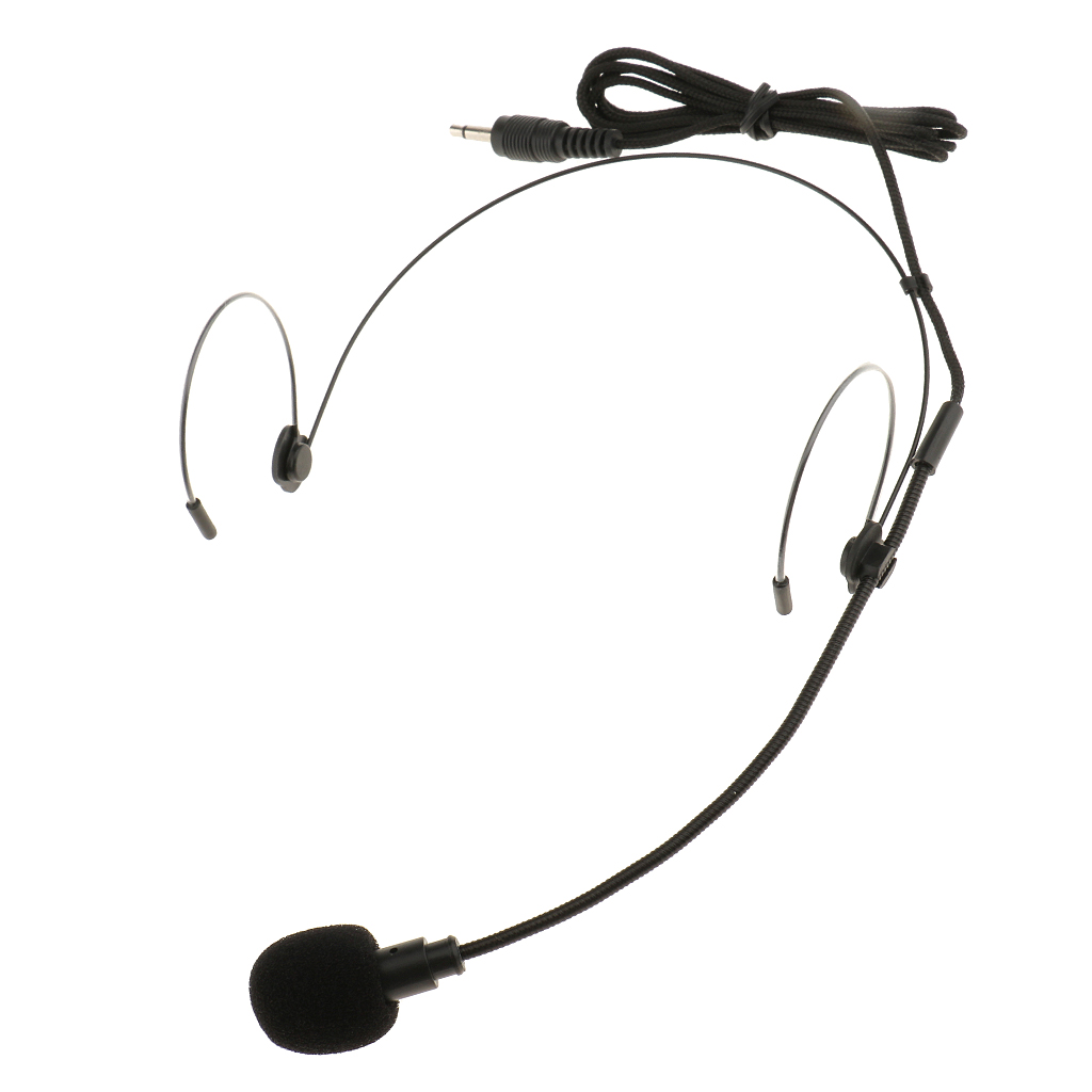 2 Pieces Foldable Double Ear Hook Wired Headset Headworn Microphone 3.5mm Mono For Wireless System Black