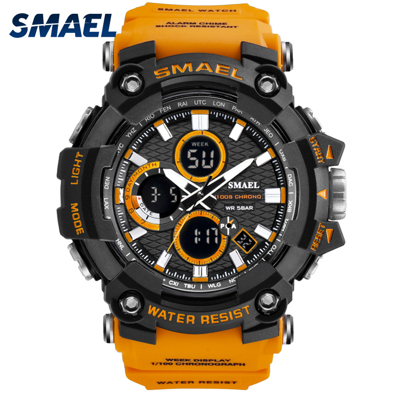 Reloj deportivo doble hora relojes para hombres 50m reloj impermeable relojes militares para hombres 1802D resistente a los golpes relojes deportivos regalos 20m 22mm de goma de Nylon de reloj de silicona banda reloj Omega Correa Seamaster Planet Ocean 8900 9900 naranja negro azul pulseras