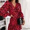 Spring Long Lantern Sleeve Print Wrap Dress Women Elegant Ruffles V Neck Red Party Dresses Autumn Female A Line Office Vestidos 1