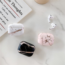 Gold Strip Crack Marble Earphone Case For Apple Airpods Pro Case Hard Luxury Cover on Air pods 3 Hea
