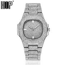 Hip Hop mężczyźni Iced Out zegarki luksusowe data zegarki kwarcowe z Micropave CZ zegarek dla kobiet mężczyzn biżuteria
