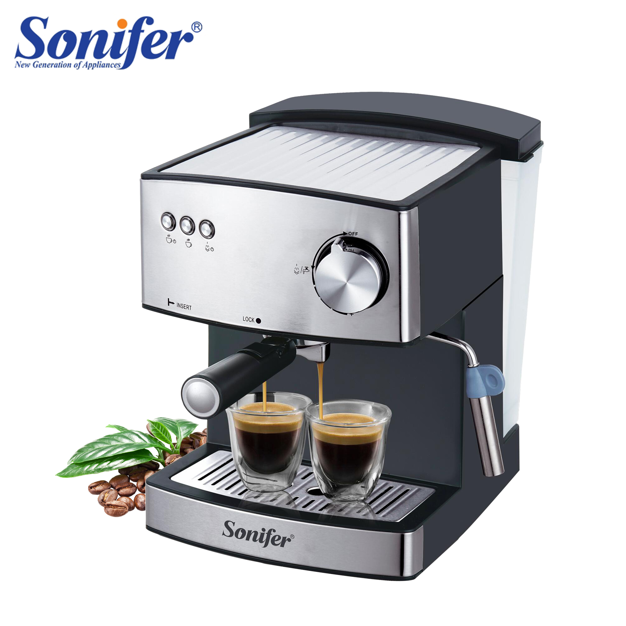 1.6L expresso Machine à café électrique Express mousse électrique cafetière électrique mousseur à lait appareils de cuisine 220V Sonifer