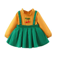 2020 Baru Fashion Musim Semi Gaun Balita Bayi Anak-anak Gadis Buah Pint Ruched Dress Kasual 0-2years Gadis Pakaian(China)