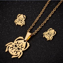 Oly2u Unique Designed Stainless Beetle Necklace Jewelry Set Cute Branch Flower Piercing Earings for Men Women Parure Bijoux(China)