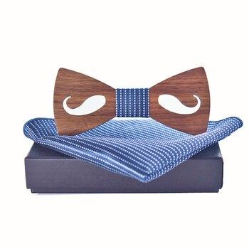 New 2018 mens bow tie and handkerchief set bowtie fashion cravatta gemelli men ties sets cravatta uomo seta lot Wooden ties set цена 2017