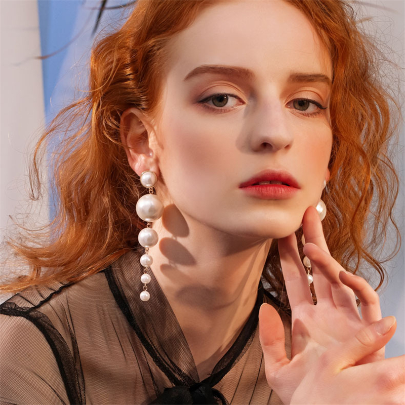 Charm Women Elegant Simulated Pearl Long Earrings Pearls String Dangle Earrings
