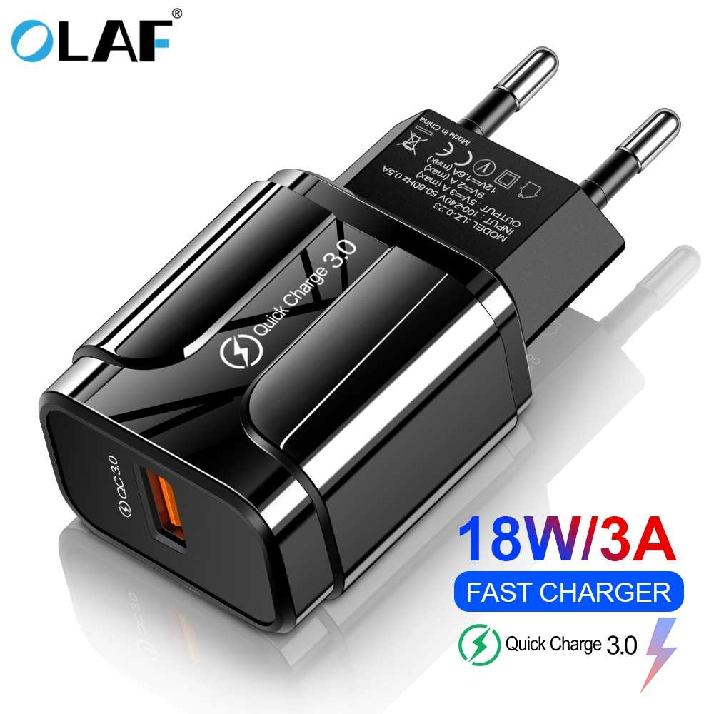Olaf 18W Quick Charge 3.0 Usb Charger Uni Eropa US 5V 3A Cepat Pengisian Ponsel Charger untuk iPhone huawei Samsung Xiaomi LG Adaptor
