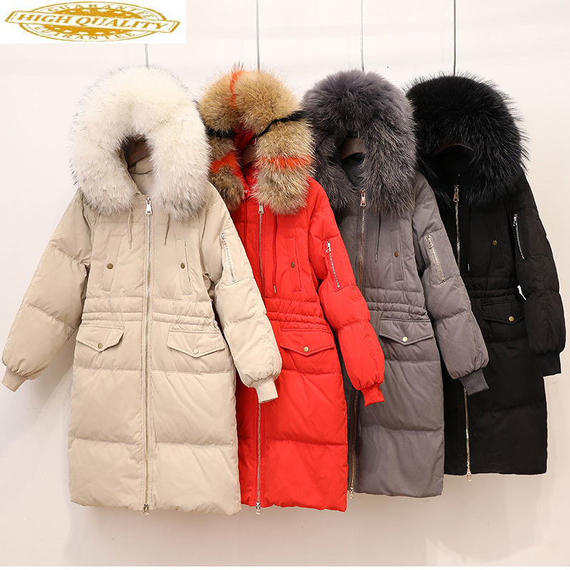Women's Down Jacket Winter Coat Woman 2019 Korean Big Fur Collar Down Jackets Female Parka Long Coats Abrigo Mujer KJ476