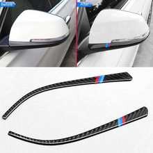Karbon Sisi Cermin Garis Cover Trim 2 Pcs untuk BMW 3,4 Series F30, F31, F32, F33, f34(China)