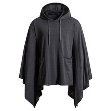 Casual Mit Kapuze Poncho Cape Mantel Mode Mantel Hoodie Pullover Hip Hop Streetwear Hoody Sweatshirt Männer Party Bühne Kostüm Homme(China)