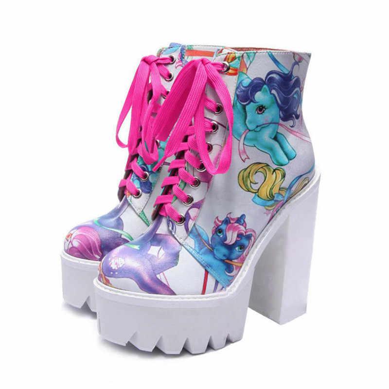 Fashion Print Women Ankle Boots 14CM