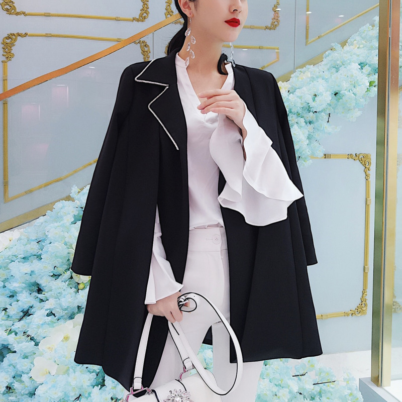 LANMREM Solid Color Collar With Diamonds Without Buckles Two Office Lady Blazer Femme Personality Fashion 2020 Spring New TV154