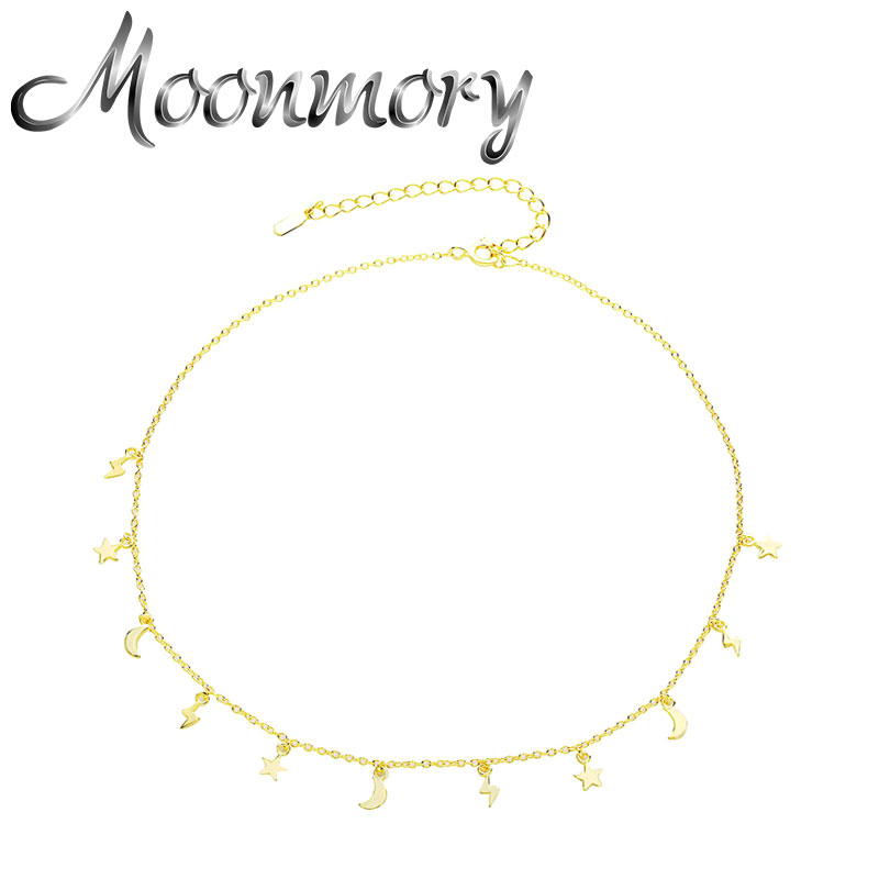 Moonmory 925 Sterling Silver Lightning Bolt Charm Pendant Necklace For Women 2020 Star Moon Tassel Chain Chokers Jewelry Collier
