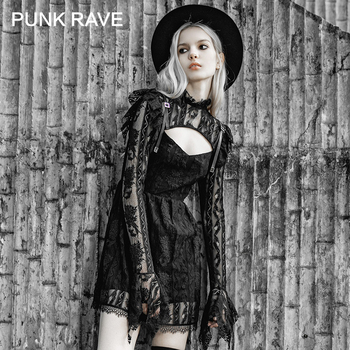 PUNK RAVE Girl's gótico Stand Collar Sheer Lace Overlaid vestidos primavera mujeres vestido negro
