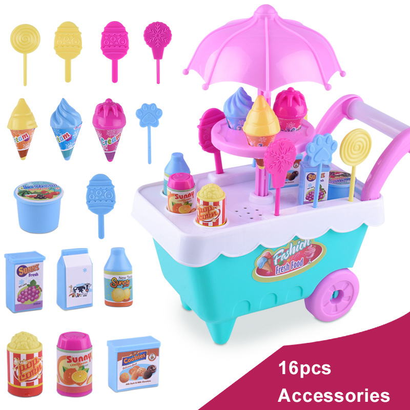 Children Pretend Pay Plastic Food Toy Ice Cream Toys For Kids Baby Trolley Candy Cart Set Role Playing Games Toys For Girls Gift image