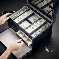 Locking Large Capacity Jewelry Box Princess European Korea Luxury Jewelry Storage Box Wedding Gifts Multi Layer Dressing Case