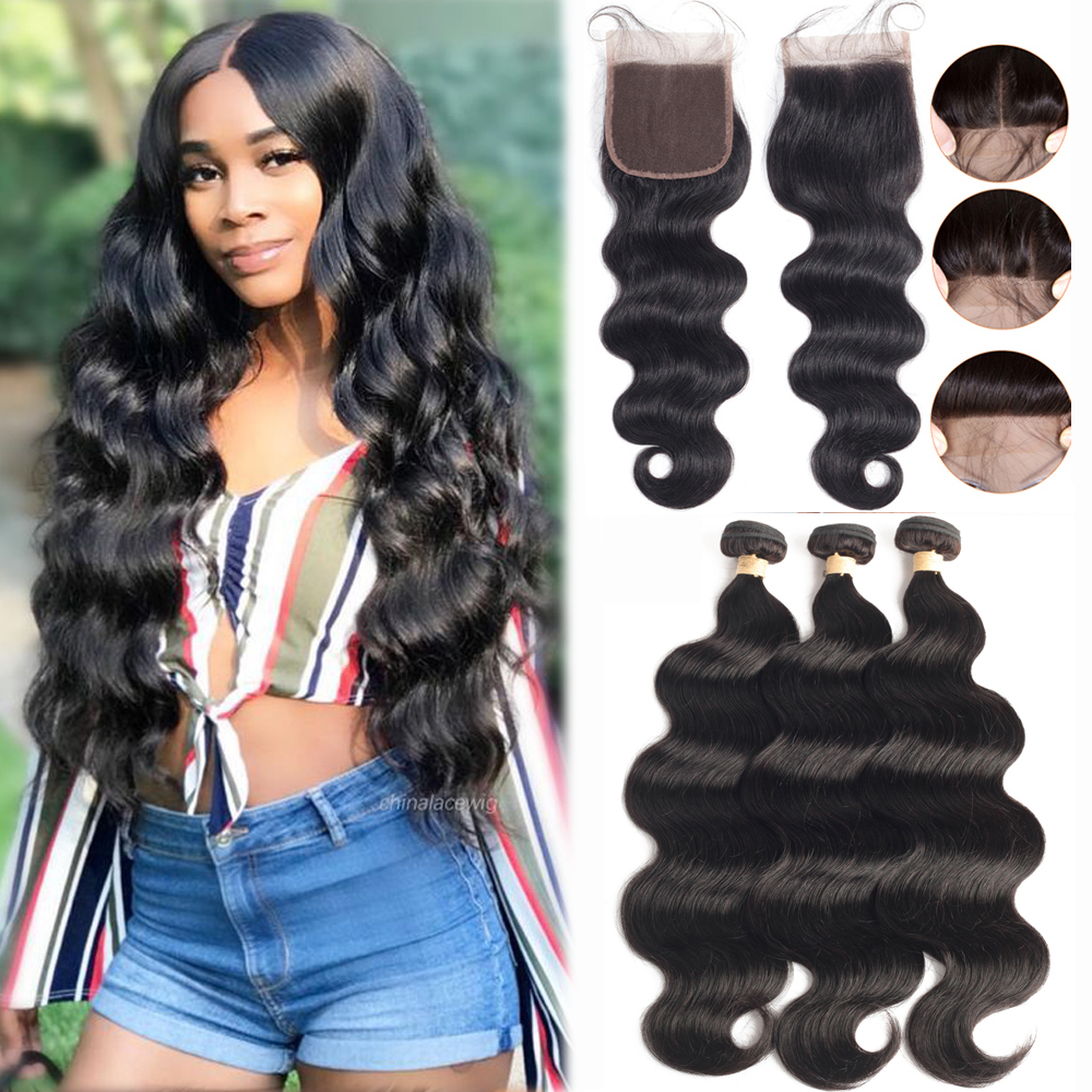 Sapphire Body Wave Bundles With Closure Brazilian Hair Weave Bundles With Closure Human Hair Bundles With Closure Hair Extension