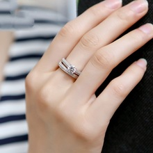 New 925 Sterling Silver Ring Two In One AAAAA Zircon Ring Wedding Ring For Woman High Jewelry Gift