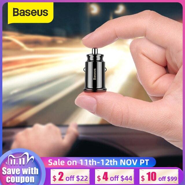 Baseus cargador Mini USB de coche para teléfono móvil y tableta con GPS, cargador rápido 3.1A, adaptador de doble cargador de telefono de coche USB para coche