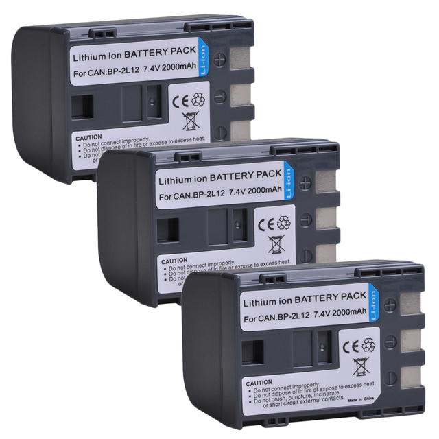 2-Pack 2000mAh BP-2L12 BP-2L14 Batterie pour Canon DC310 DC330 Elura 60 Vixia HG10 HV20 HV30 ZR100 ZR200 ZR300 ZR500 ZR600 ZR800