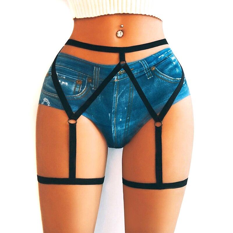 Womens Sexy Elastic Goth Leg Garter Belt Leg Decoration Harness Pantie Lingerie Sexy Suspenders Lingerie Accessories