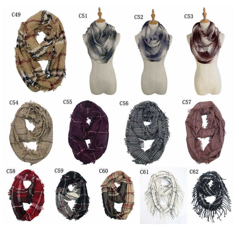Hot Selling Europe And America Autumn And Winter Scarf Women's Colorful Plaid Tassels Dual Purpose Warm Pullover Scarf