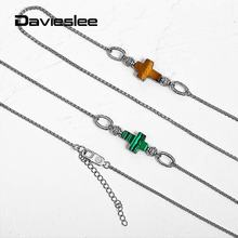 2mm Stainless Steel Box Link Chain Cross Charm Tiger Eye Malachite Necklace for Men Women Stylish Long Necklace 27 inch DDNM24(China)