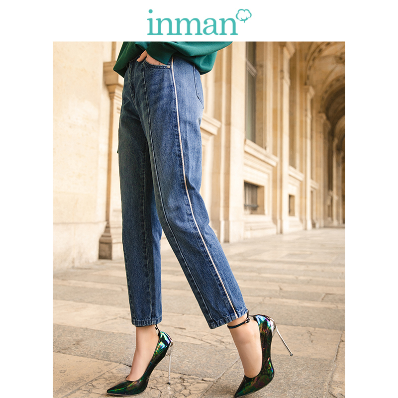 INMAN 2019 New Arrival Medium Waist Retro Korean Loose Straight Slim All Matched Women Jeans