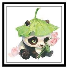 Cross-Stitch-Sets Embroidery-Kit Printed Needlework Panda Lotus Leaf for Silk 50x50cm