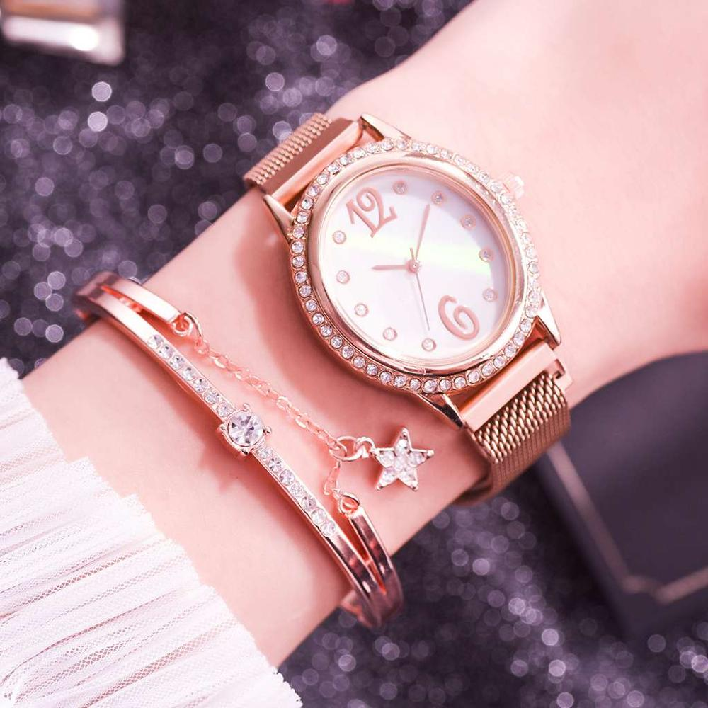 2pc/set Luxury Brand Women Watches Rhinestone Magnet Watch Fashion Casual Female Wristwatch Arabic Numeral Simple Bracelet Clock