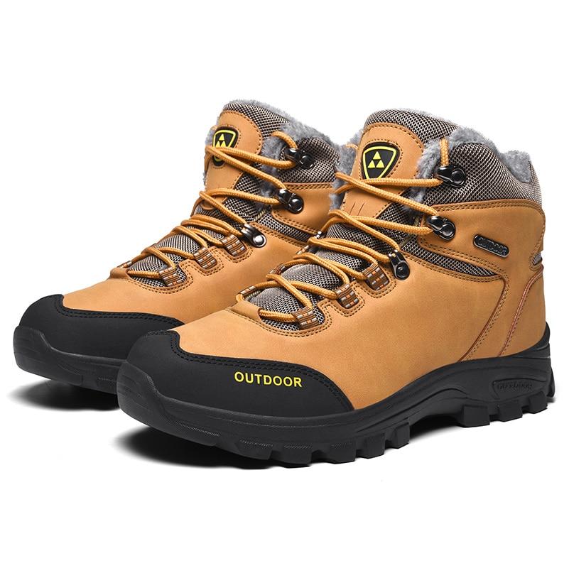 Men Ankle Hiking Boots Warm Fleece