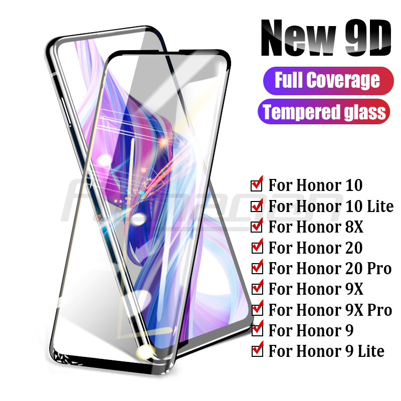 9D Full Cover Tempered Glass On For Honor 10 8X 9X 20 Pro Screen Protector For Huawei Honor 9 10 Lite 8X 9X Pro Protective Glass