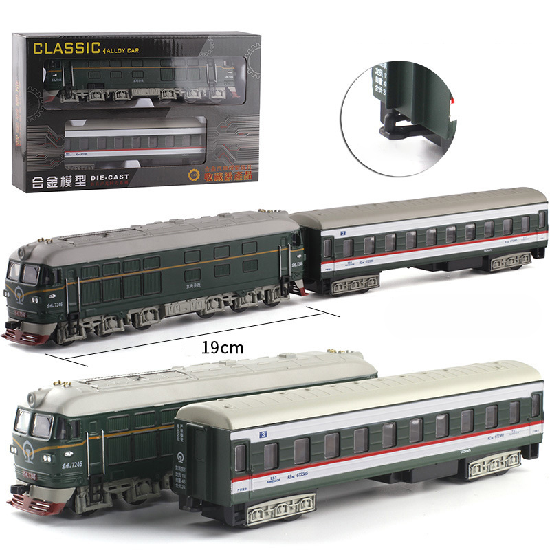 1:87 Scale Steam Train Diecast Locomotive Alloy Model Toy Cars Pull Back Train With Sound Light Railway Track Toys For Children