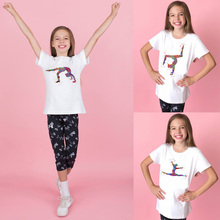 Gymnastics Tumbling Watercolor Kids T-shirt Sports Short Sleeve O-neck Casual T Shirt Toddler  Clothes Tops Tee Shirts