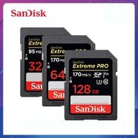 100% Original tarjeta de memoria SanDisk Extreme Pro/Ultra 32 64 128 GB U3/U1 32GB 128 GB 64GB 256GB Flash de tarjeta SD 16GB de memoria SDXC SDH