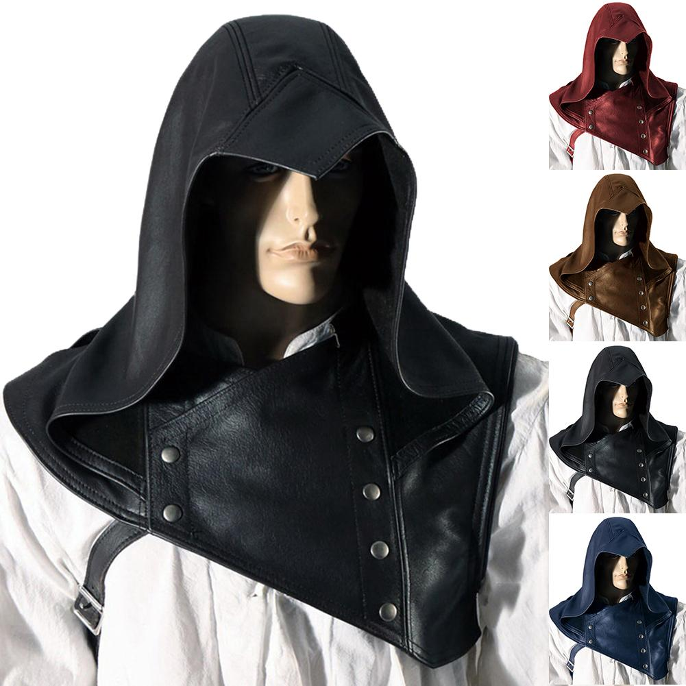 Unisex Vintage Medieval Cowl Hat Hooded Cloak Cape Halloween Cosplay Costume