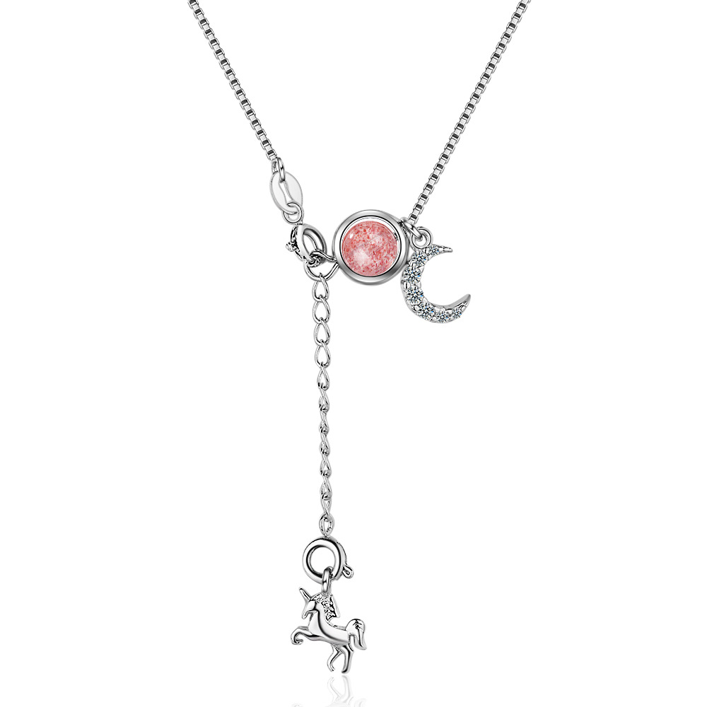 Utimtree New Hot 925 sterling silver Natural Strawberry Crystal Moon Star Pendants Necklaces For Women Chokers collares