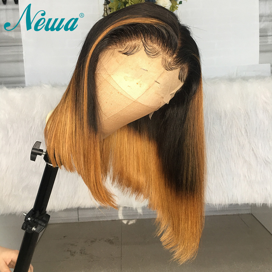 Ombre Lace Front Human Hair Wigs Pre Plucked Bleached Knots Short Bob Lace Front Wigs Newa 13x6 Straight Remy Human Hair Wigs
