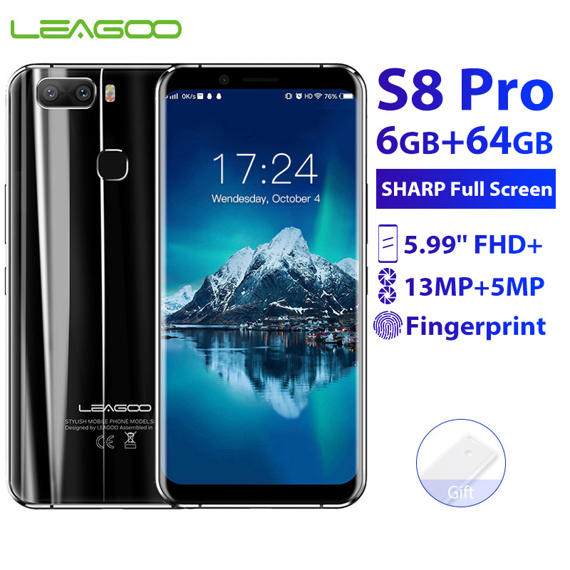 Original New LEAGOO S8 Pro 6GB 64GB 5.99'' 18:9 Mobile Phone Android 7.0 MTK6757 Octa Core 13.0MP Fingerprint ID 4G Smartphone