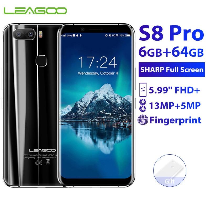 Original New LEAGOO S8 Pro 6GB 64GB 5.99'' 18:9 Mobile Phone Android 7.0 MTK6757 Octa Core 13.0MP Fingerprint ID 4G Smartphone