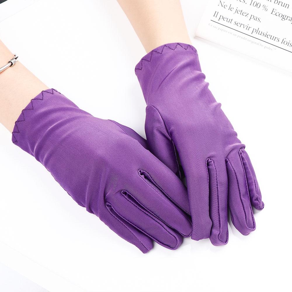 1 Pair Women Gloves Wrist Length Gloves Sexy Black White Red Short Satin Stretch Gloves For Ladies Girls Fashion