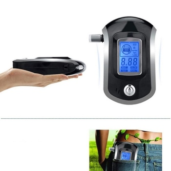 AT6000 Professional Digital Breath Alcohol Tester Breathalyzer With LCD Dispaly 11 Mouthpieces
